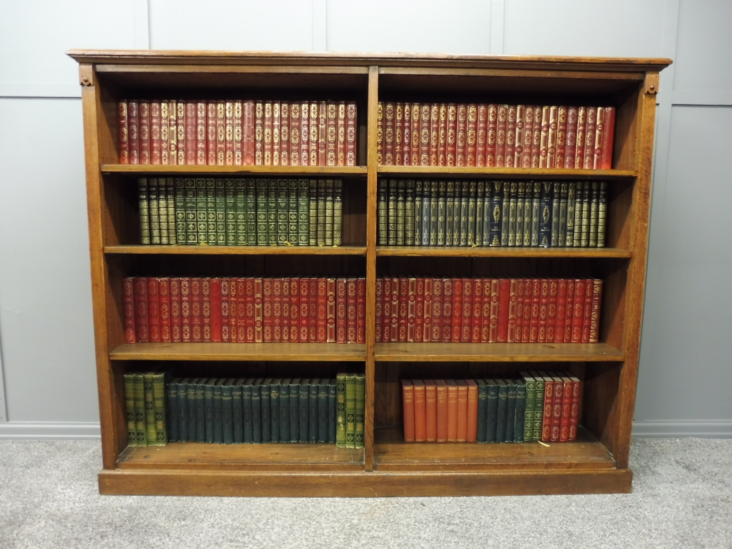 victorian oak bookshelves