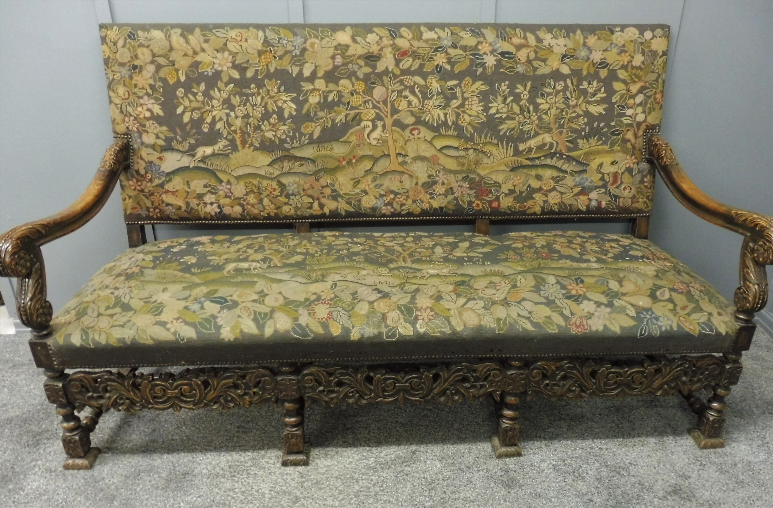 unique 19th century oak deep seated tapestry sofa