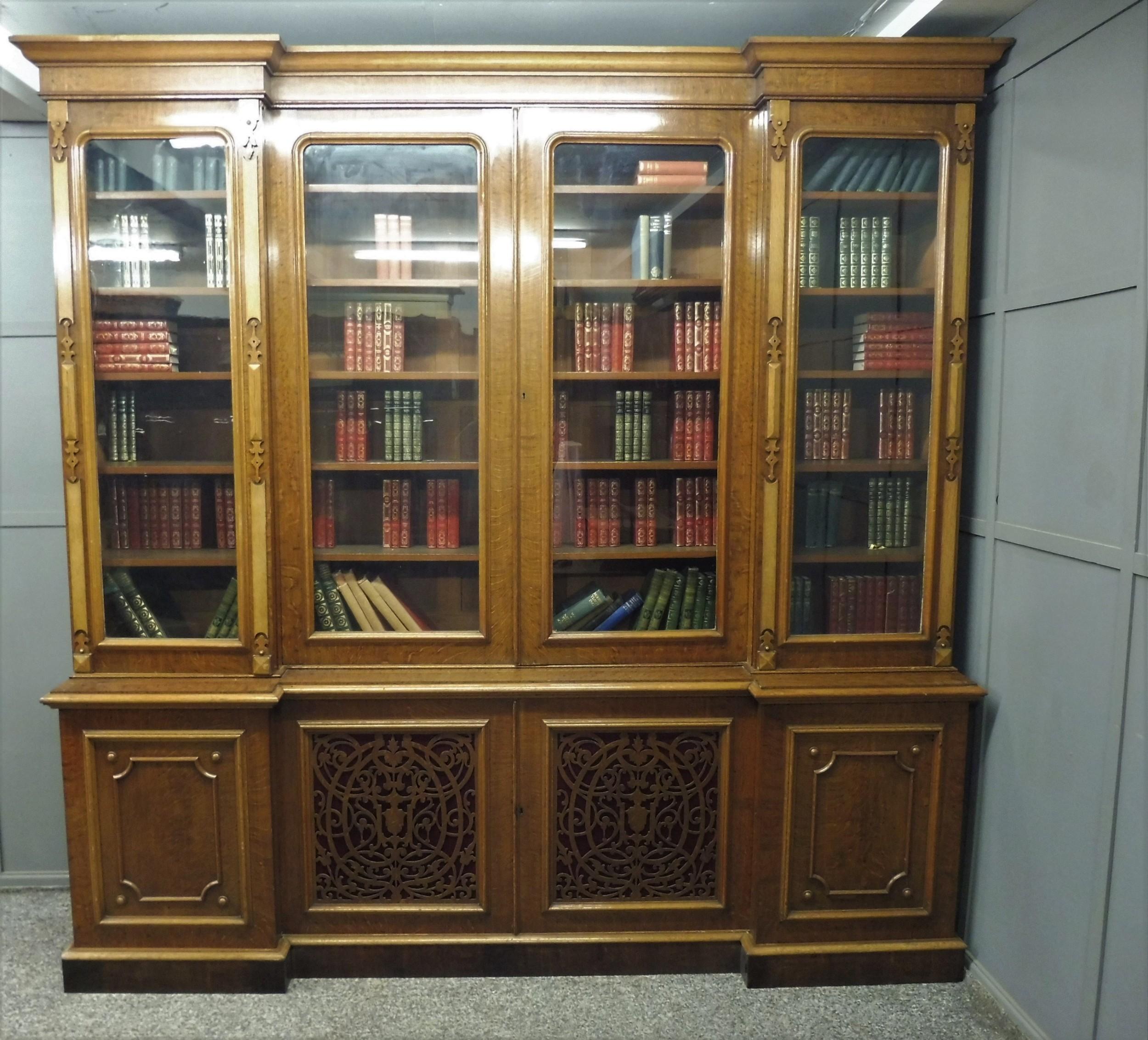 large victorian oak breakfront bookcase