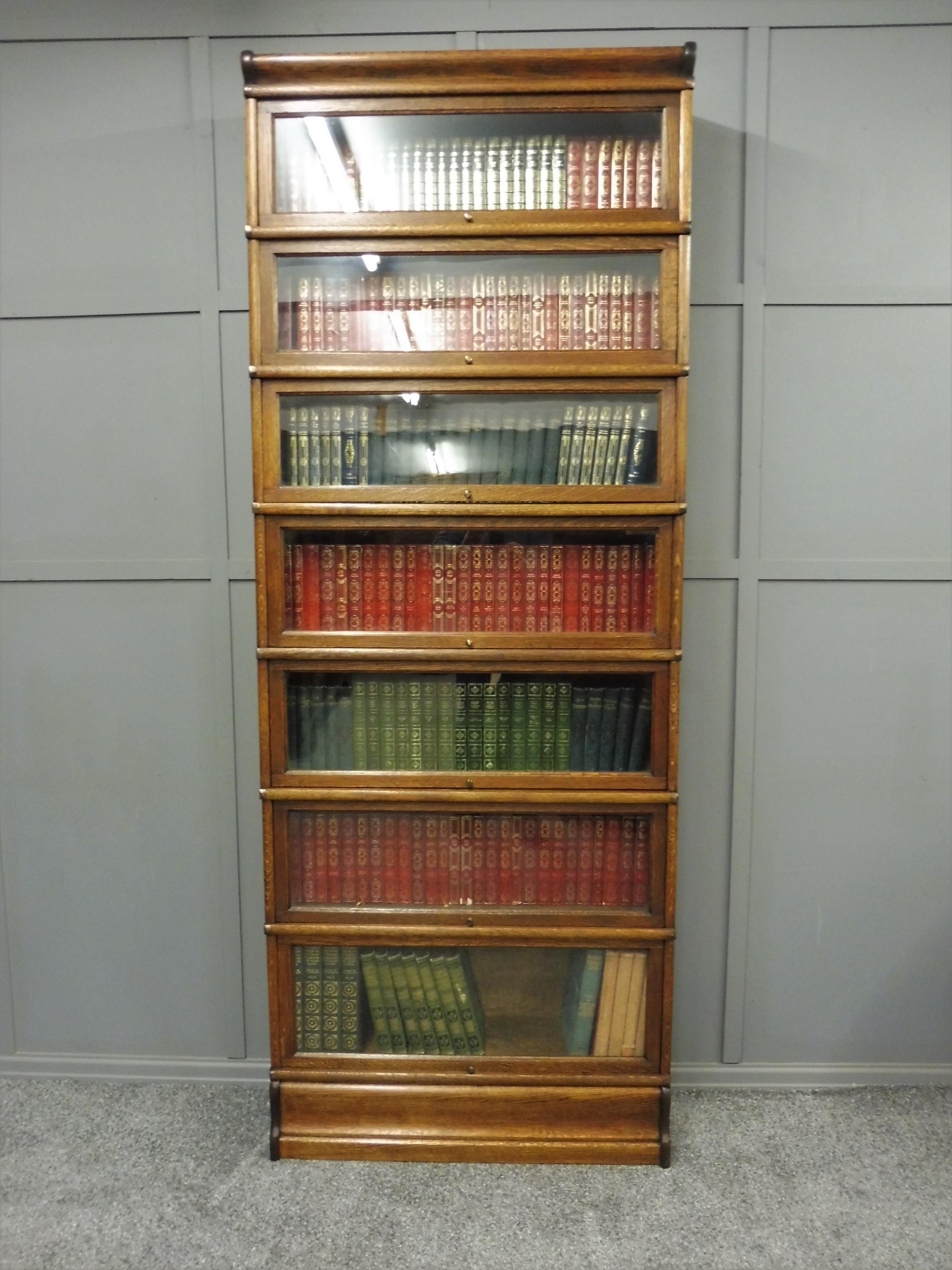 tall 7 high golden oak globe wernicke bookcase