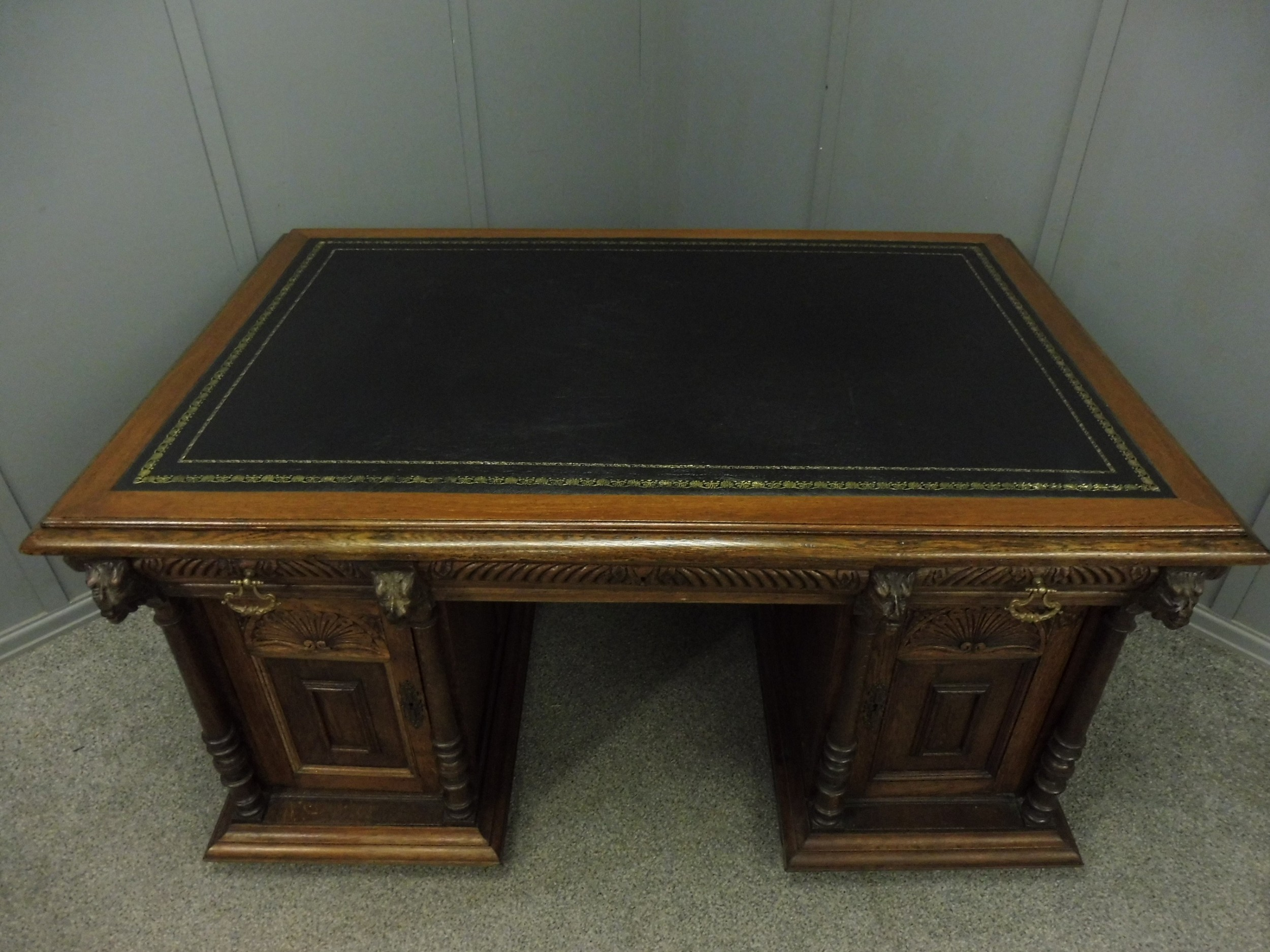 victorian green man partners desk