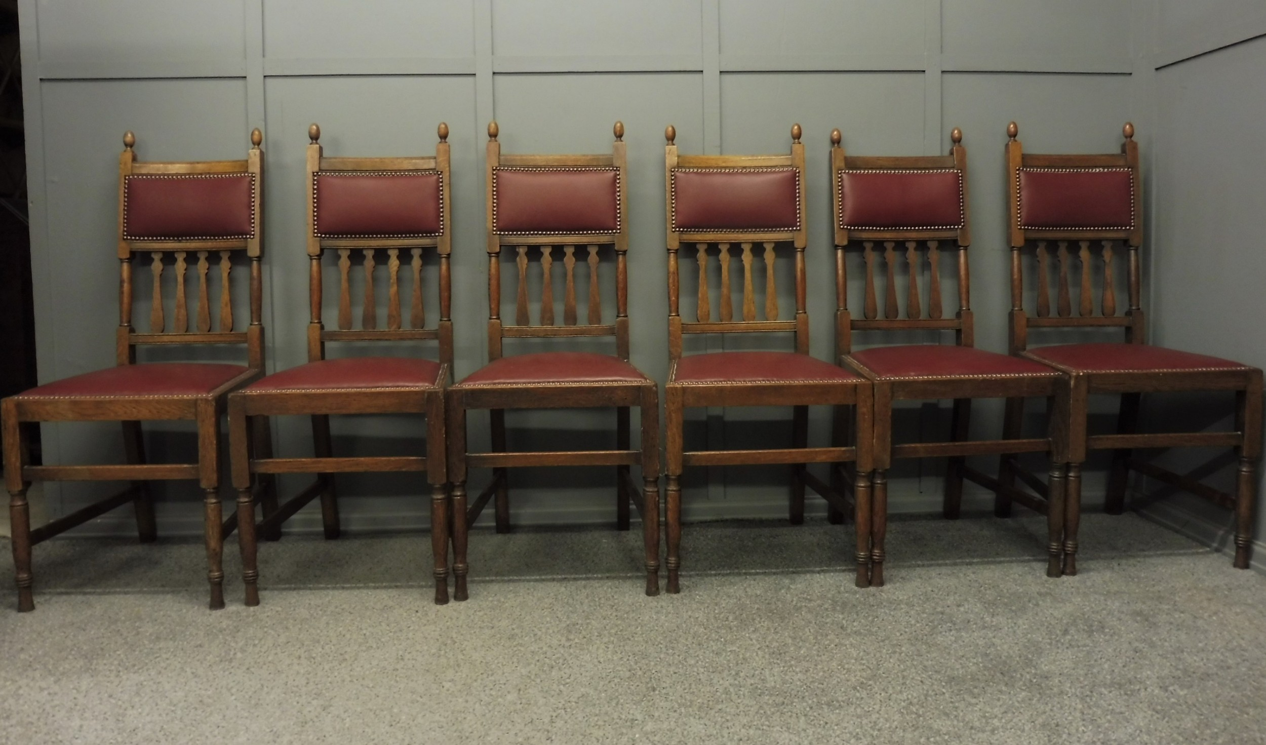 set of 6 oak arts and crafts dining chairs
