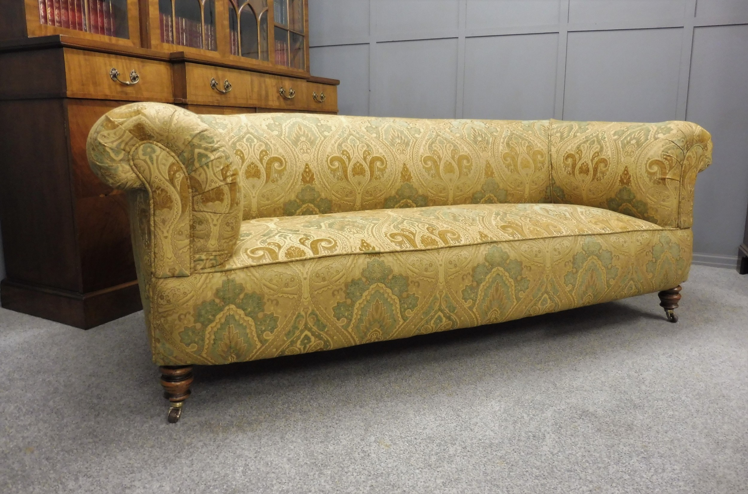 newly upholstered victorian chesterfield sofa