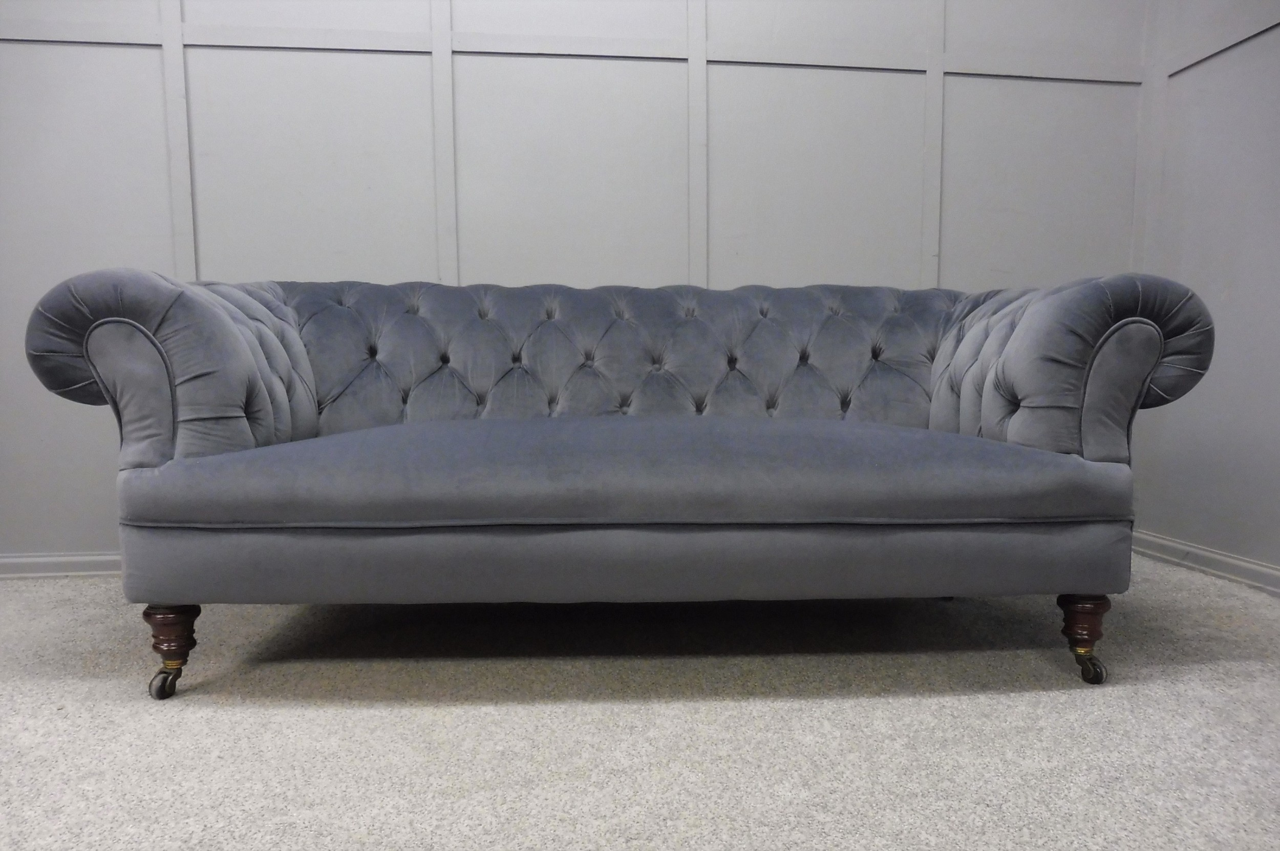 victorian chesterfield sofa newly upholstered in slate grey velvet