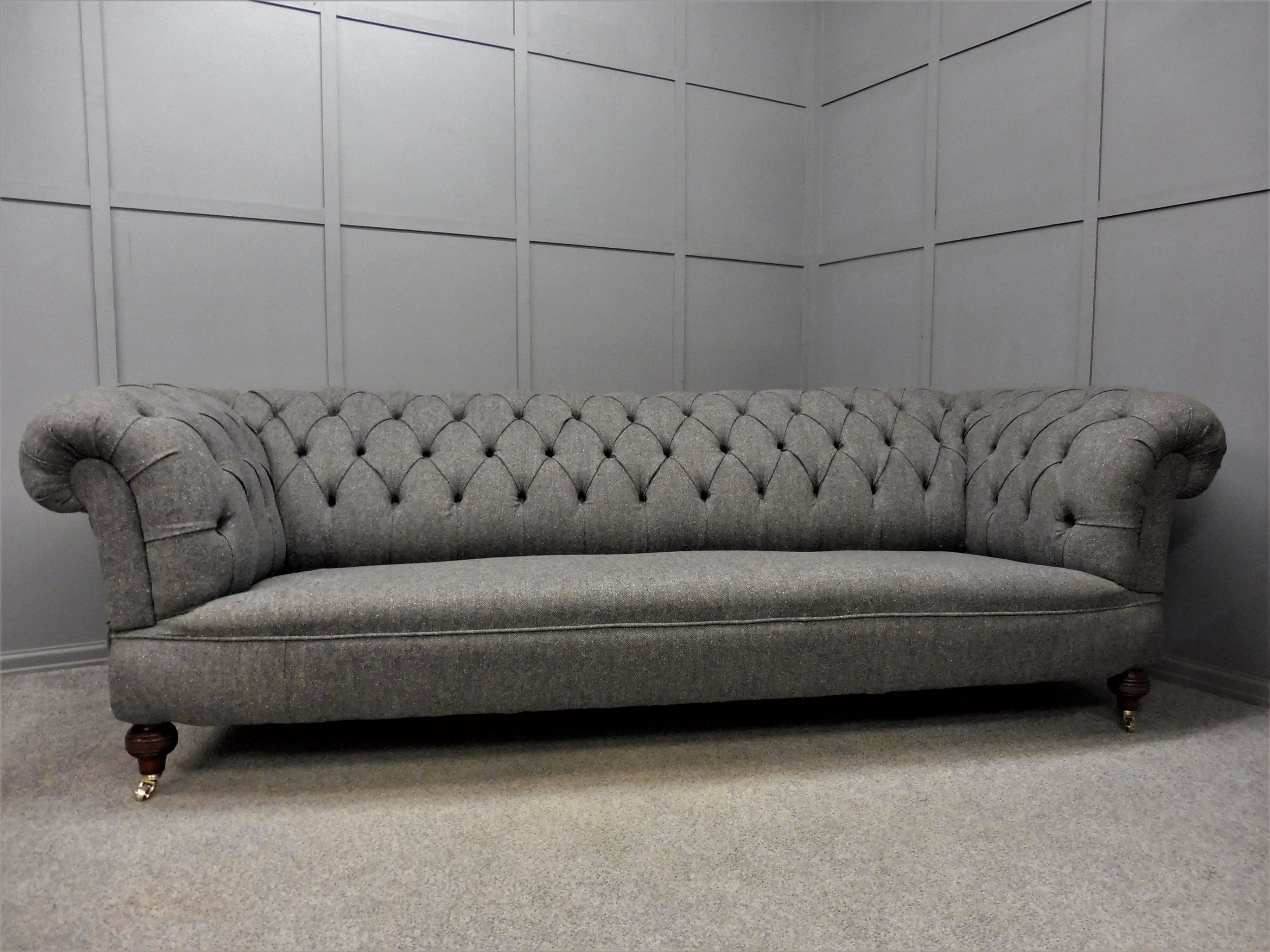 very large original victorian chesterfield sofa fully restored