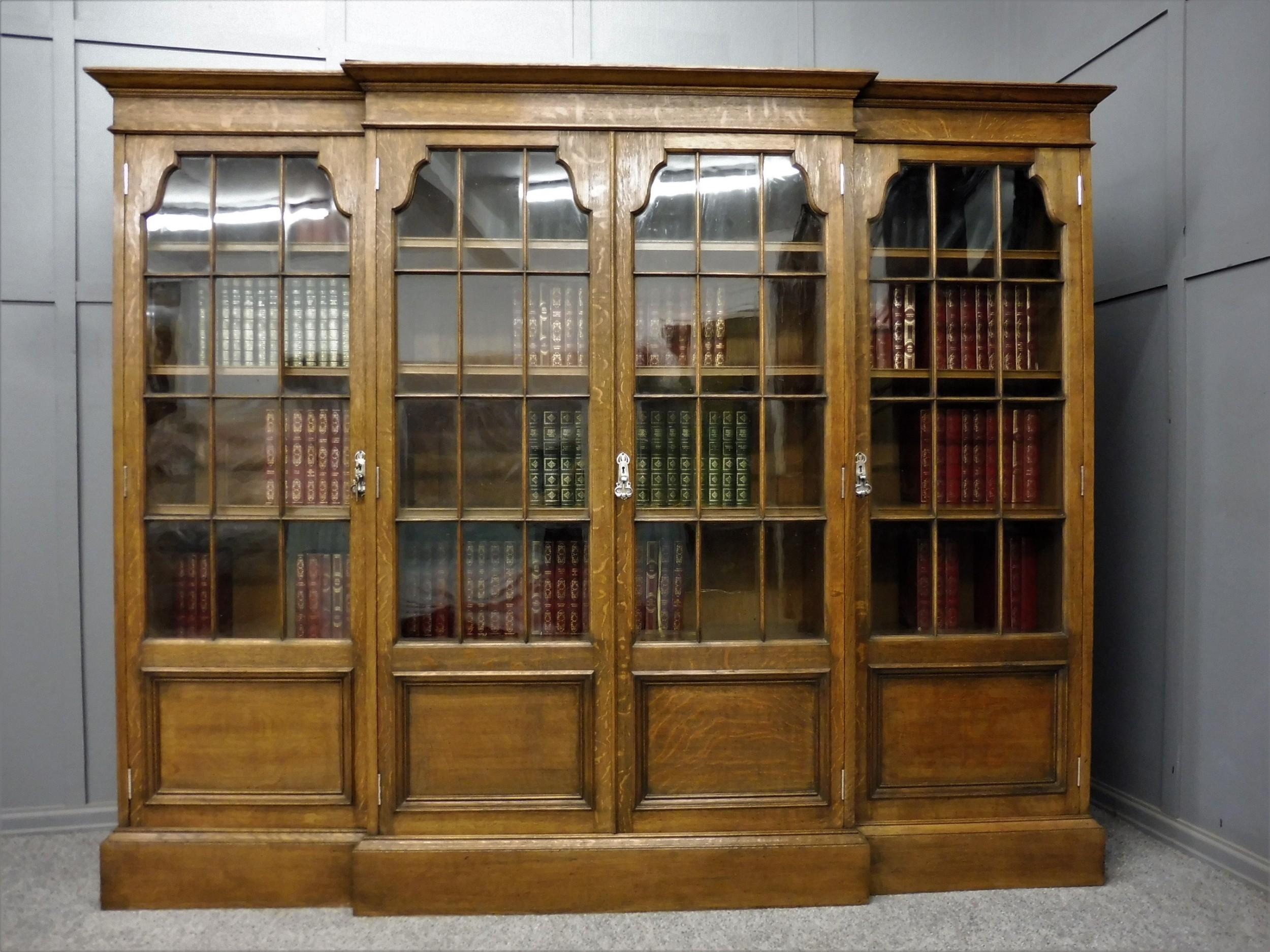 large edwardian oak 4 door bookcase
