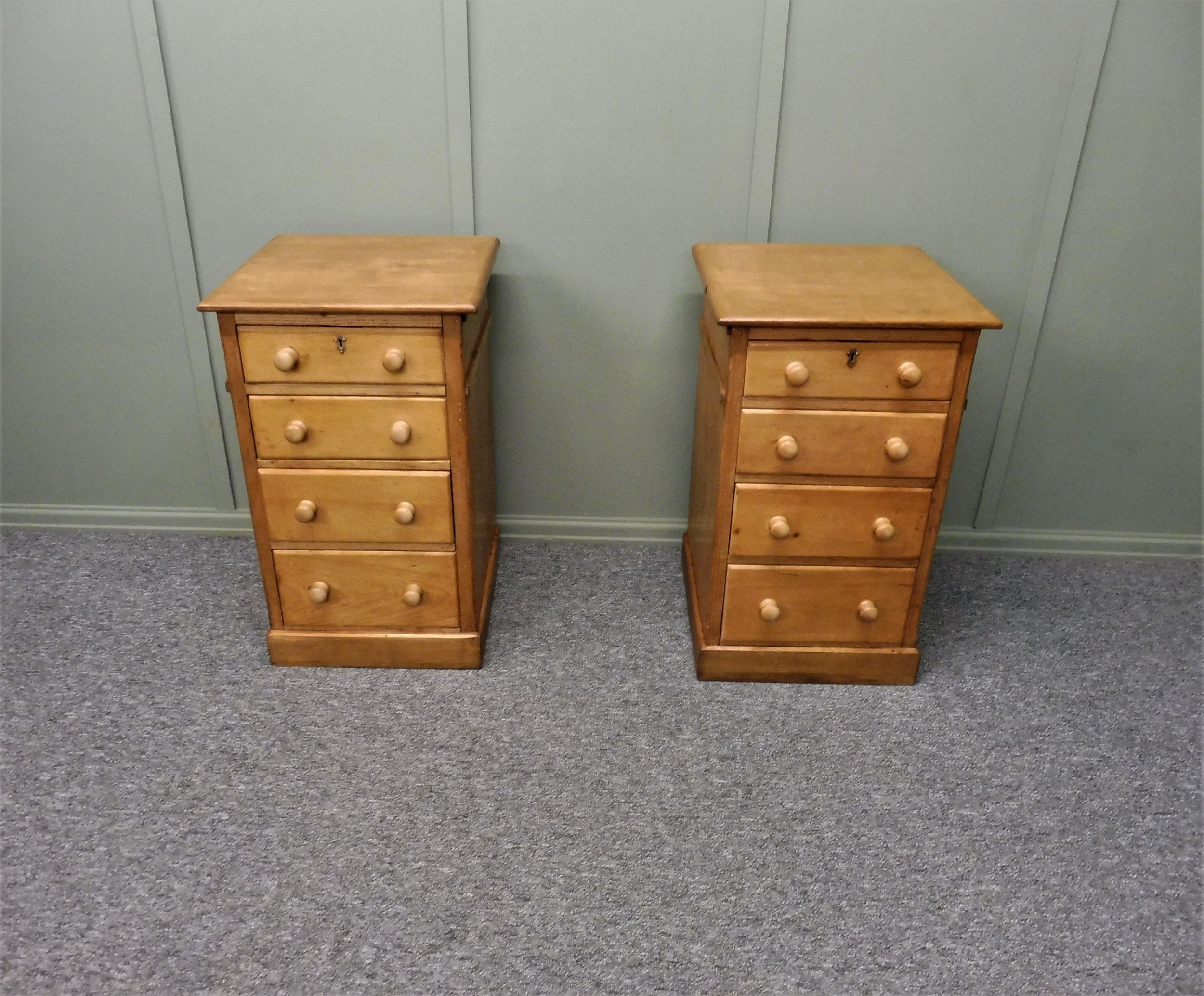 pair of victorian pine bedside chests