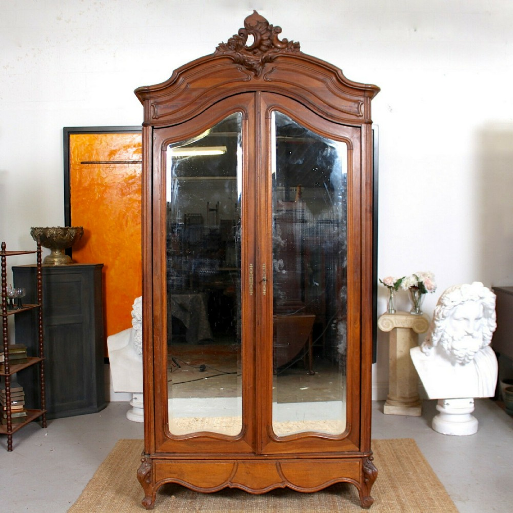 french walnut armoire wardrobe mirrored 19th century