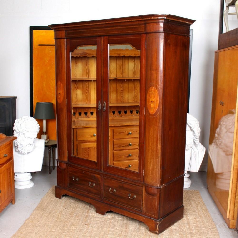 wardrobe mahogany mirrored inlaid 19th century armoire victorian
