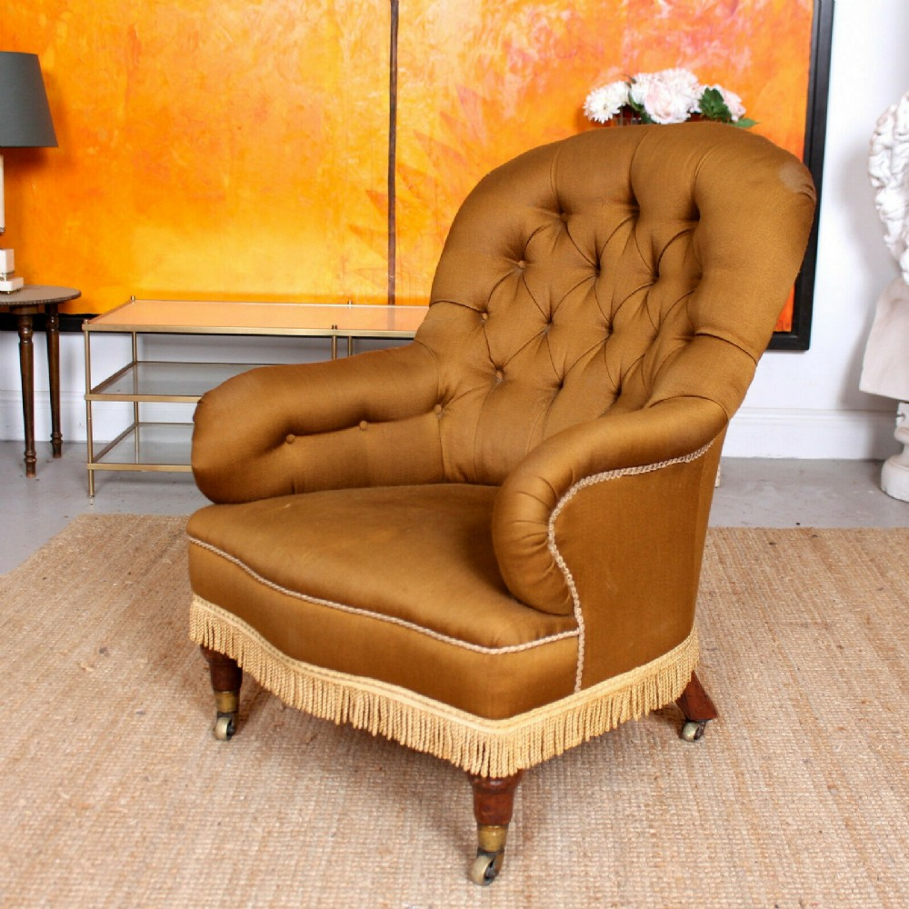 spoonback buttoned armchair 19th century