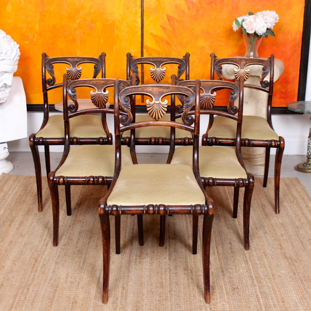 6 regency harlequin dining chairs painted