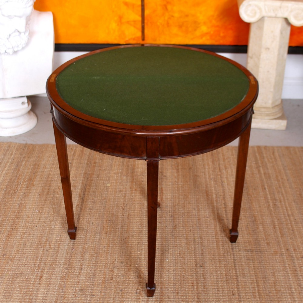 edwardian demilune card table circular mahogany