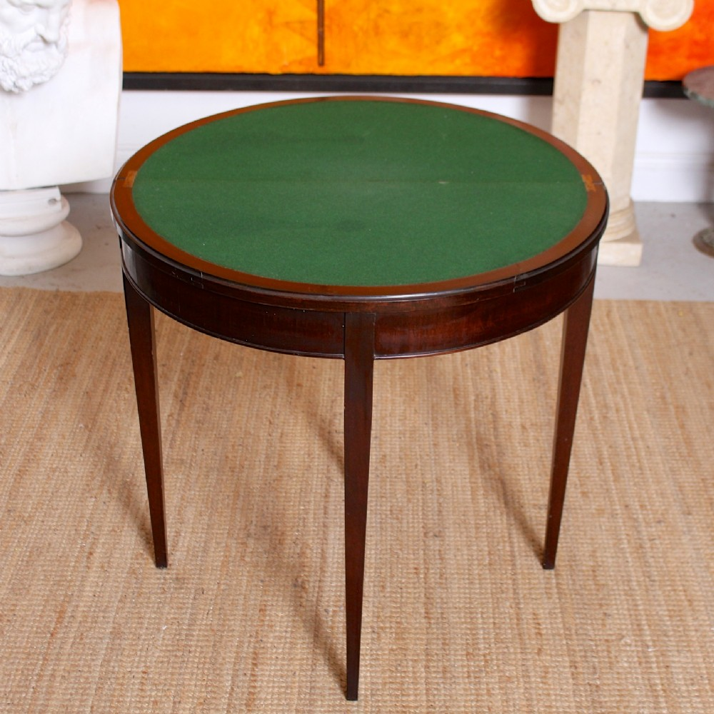 edwardian demilune card table mahogany circular