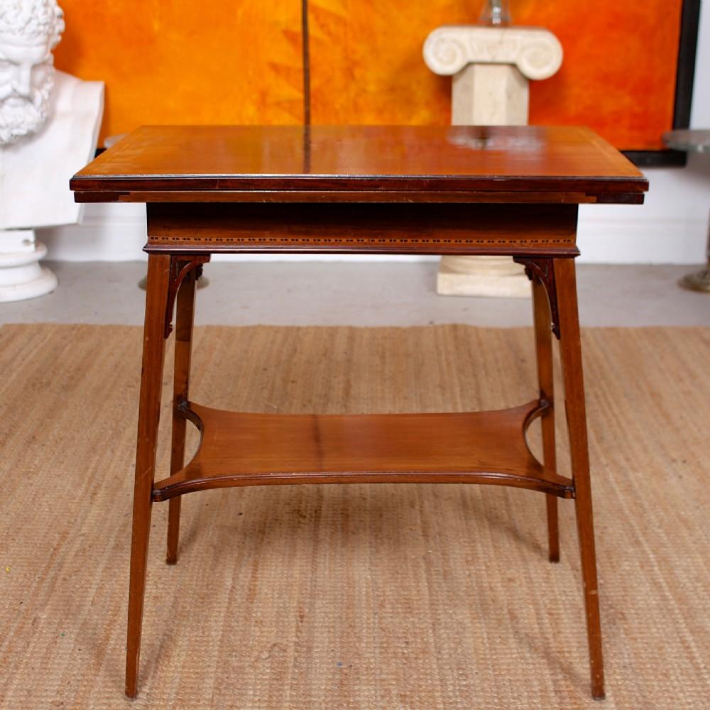 folding writing table victorian inlaid mahogany