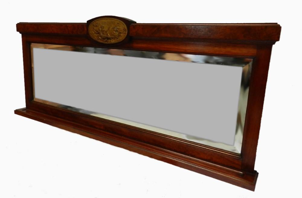 C19 french mirror ormolu neptune cherub putti plaque over for Mantel mirrors