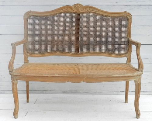 Charming french c19 bergere sofa settee canape louis xv for Louis xv canape sofa