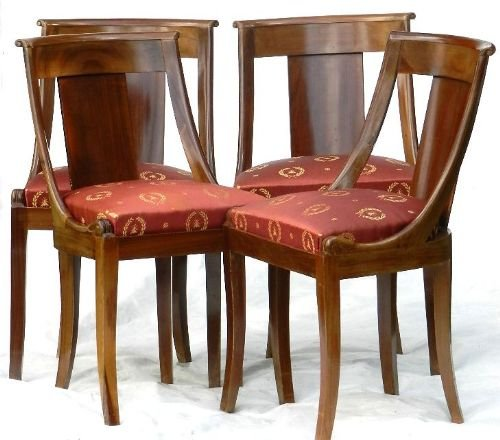 Good Set Of 6 4 2 French Empire Rev Gondola Dining Chairs 2