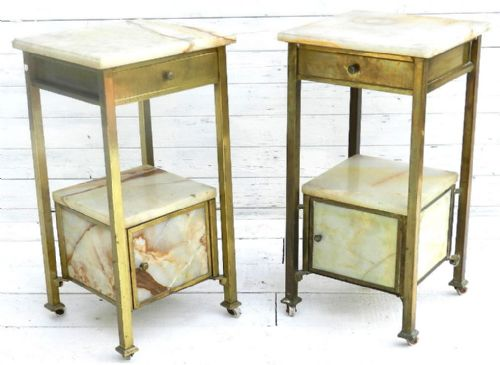 Unusual Pair Of French Brass Amp Marble Bedside Tables