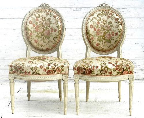 Good Pair Of French Louis Medallion Back Chairs Side Or Accent Chairs Boudoir Bedroom