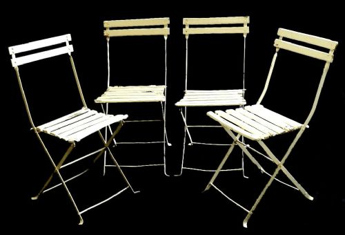 Superb Set Of 4 French Folding Garden Patio Chairs Painted Wood And Metal