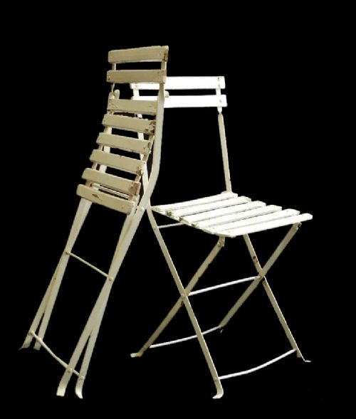 Superb Set Of 4 French Folding Garden Patio Chairs Painted Wood And