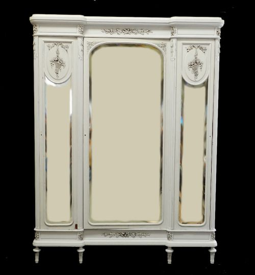 Charming C19 Antique French Armoire Wardrobe 3 Door Painted Louis