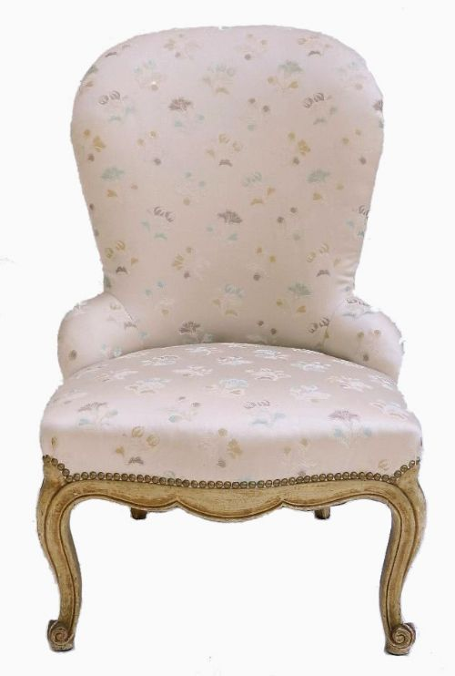 Early Vintage Craquelure French Louis Boudoir Chair Fauteuil 247750 Selli