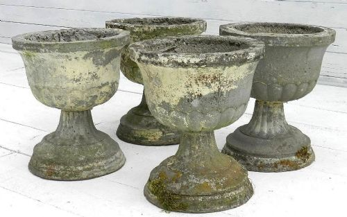 Good weathered set of 4 french garden urns planters pots or as 2 declaration workwithnaturefo