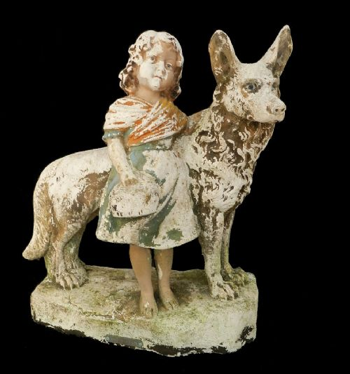 Good Companions Girl Amp Her Dog Weathered Plaster Statue