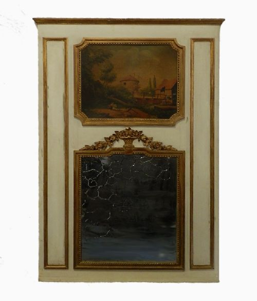 late c18 early 19th century french trumeau mirror painting giltwood overmantle overmantel