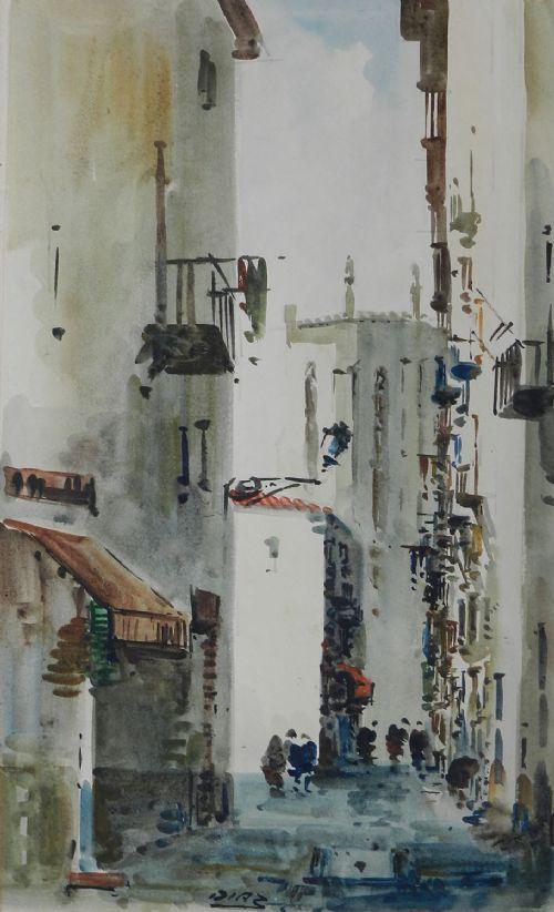 spanish watercolor street scene signed diaz c1950