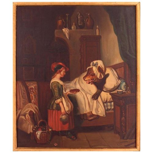 oil painting signed mari pol c1863 little red riding hood french