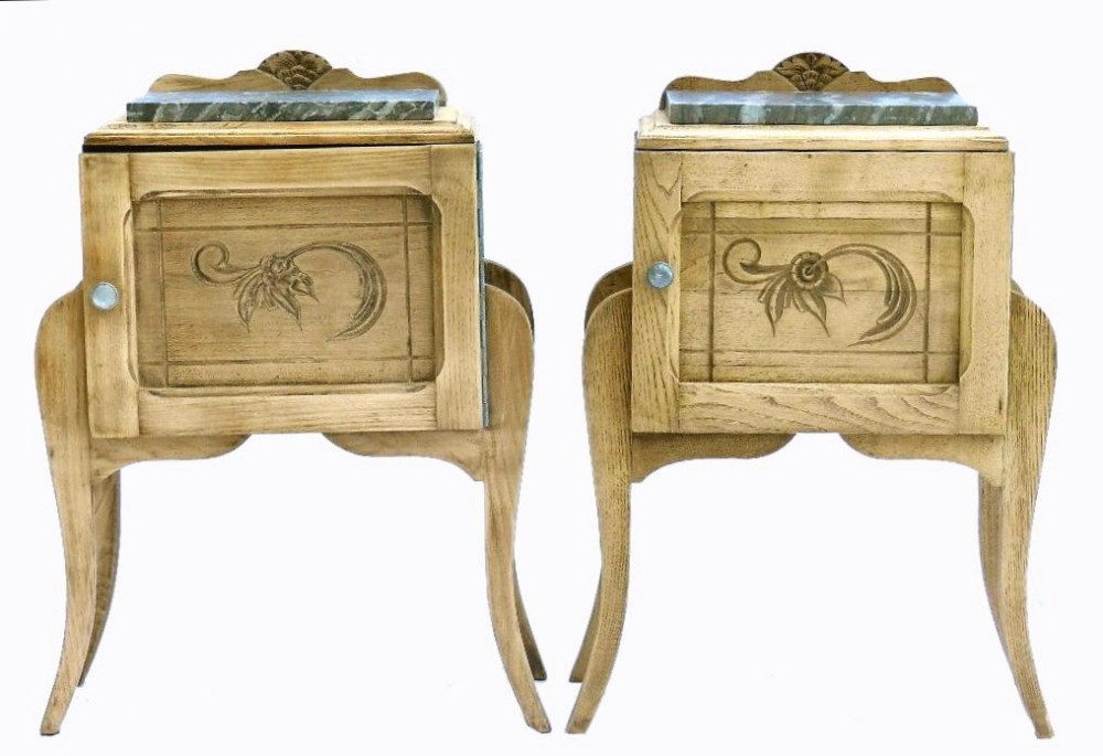 unusual pair of art deco french side cabinets bleached oak bedside tables  cupboard nightstands