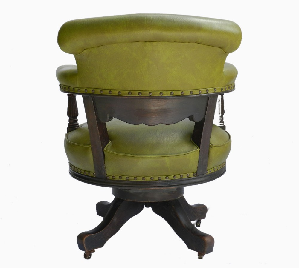 superb c19 captains revolving desk chair library moss green leather