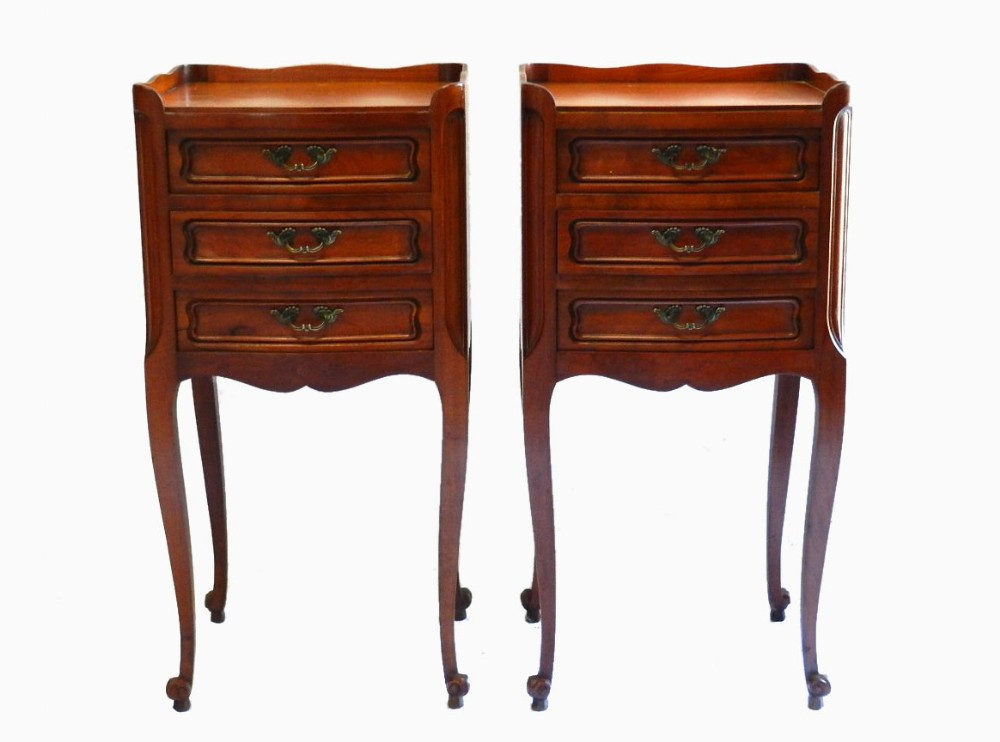 Pair of french louis revival cherry bedside tables cabinet for French nightstand bedside table