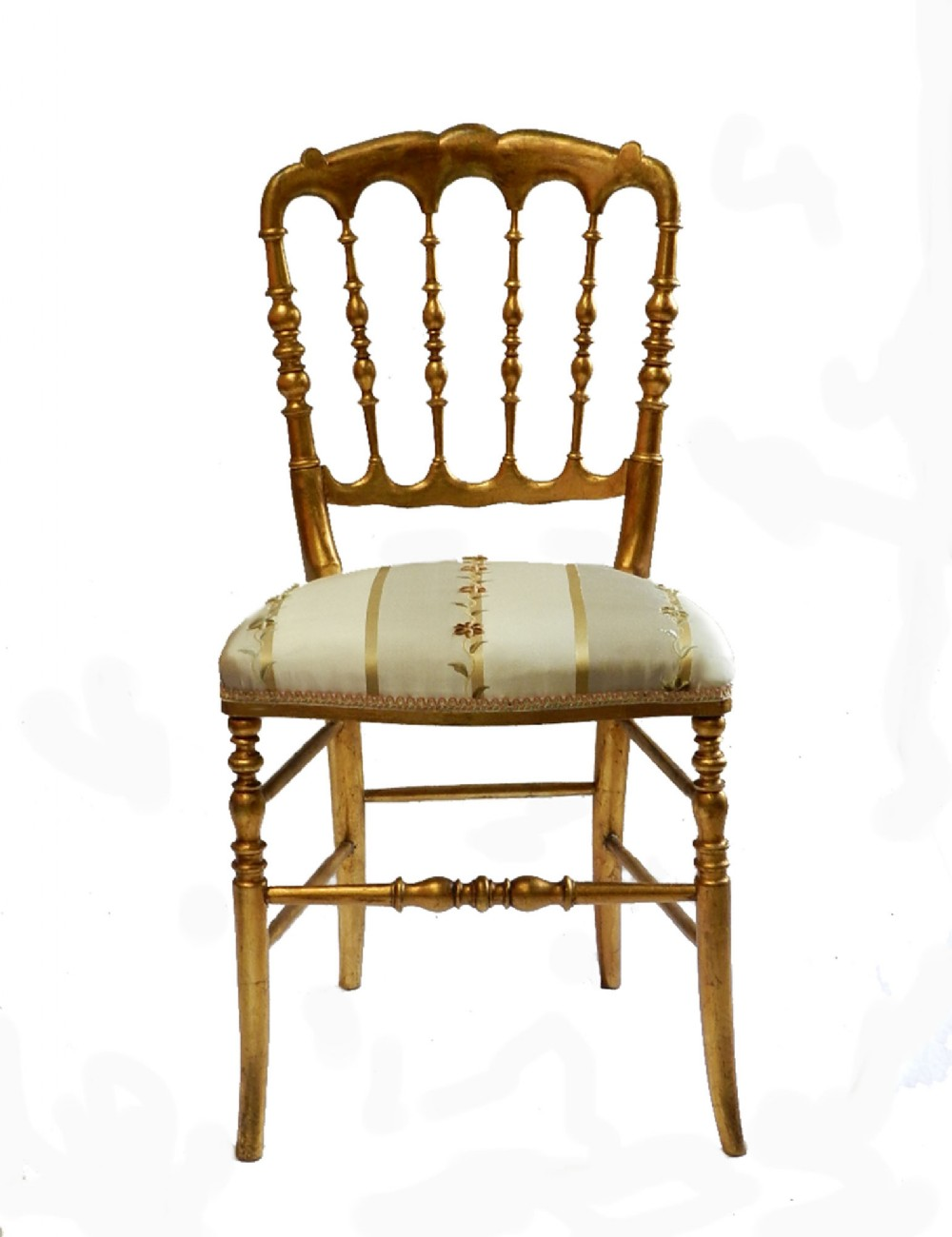 classic early original italian chiavari turned wood gold chair side