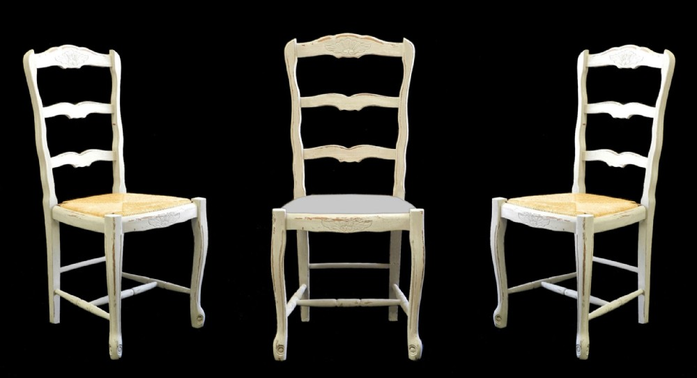 8 French Dining Chairs Rush Or Fabric Covered Painted Louis Ladder Back Count