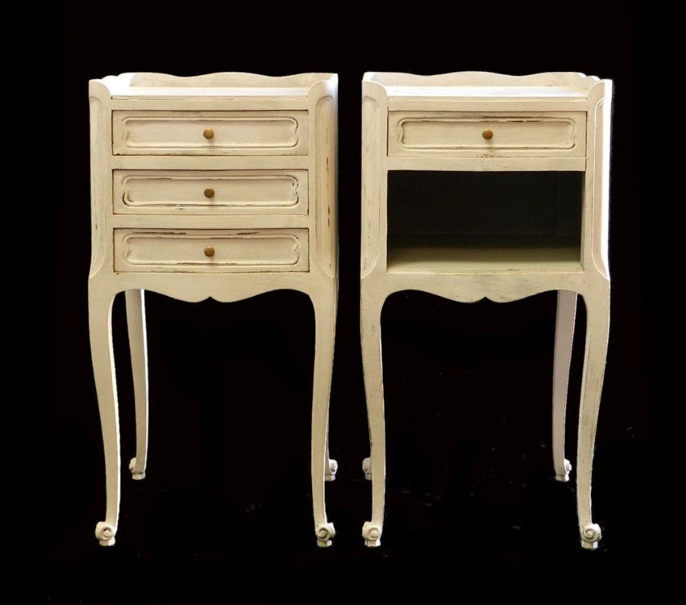 Pair French Side Cabinets Bedside Tables Nightstands Vintage ...