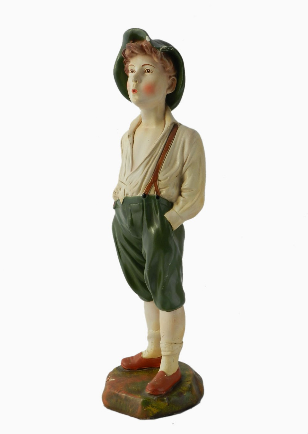 Art deco statue whistling boy chalk ware plaster original paint 440729 - Deco boy ...