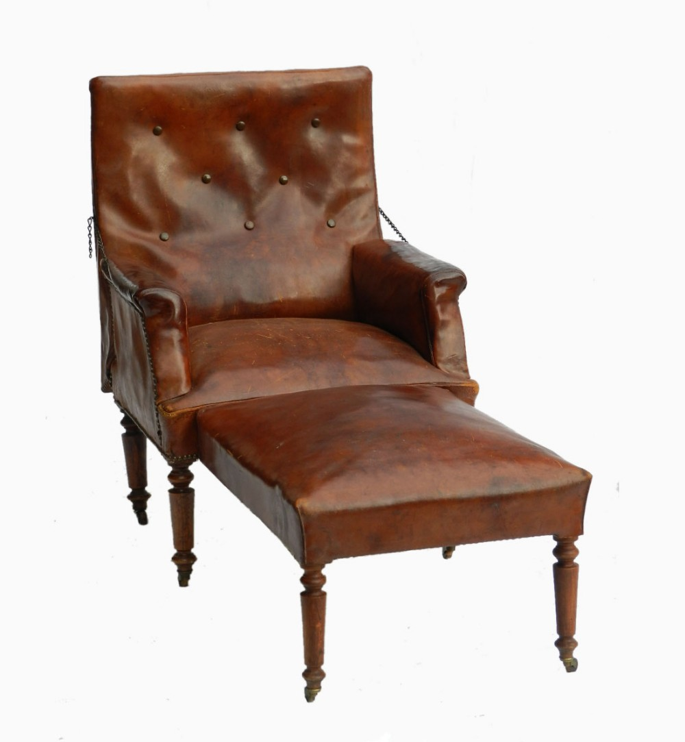 folding french leather club chair reclining armchair chaise longue recliner early c20 443762. Black Bedroom Furniture Sets. Home Design Ideas
