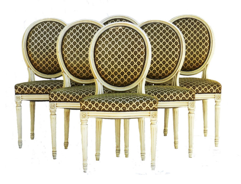 six french dining chairs medallion back includes recovering early