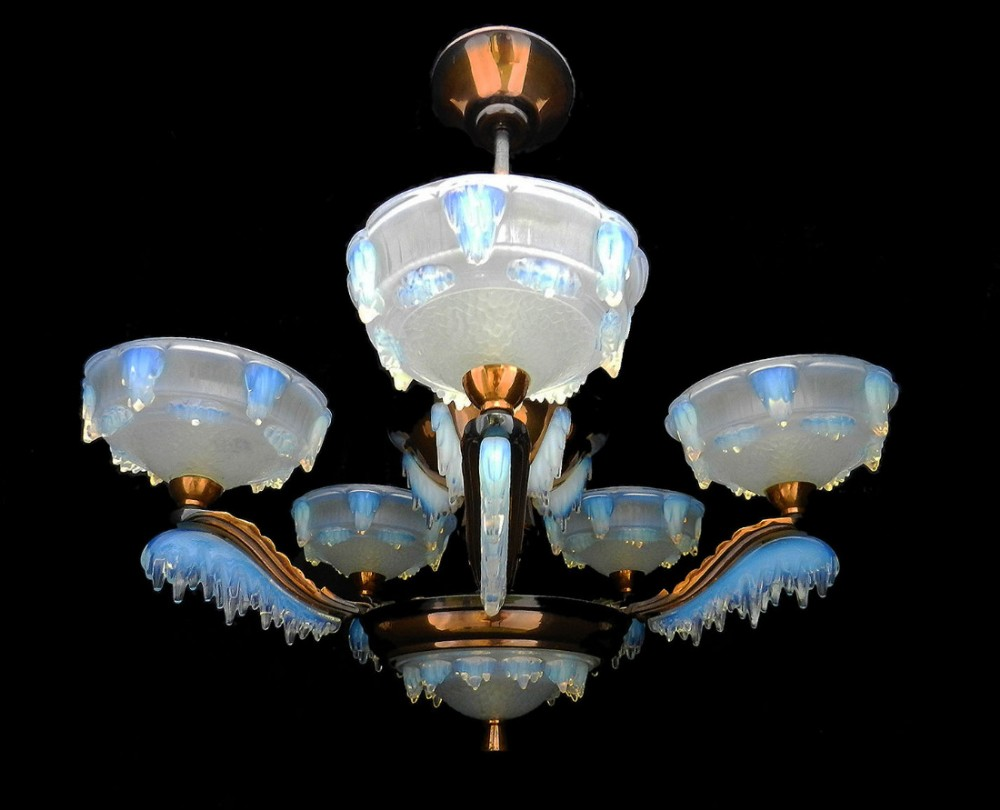 Art deco chandelier by ezan and petitot french opalescent glass art deco chandelier by ezan and petitot french opalescent glass copper 1930 arubaitofo Choice Image