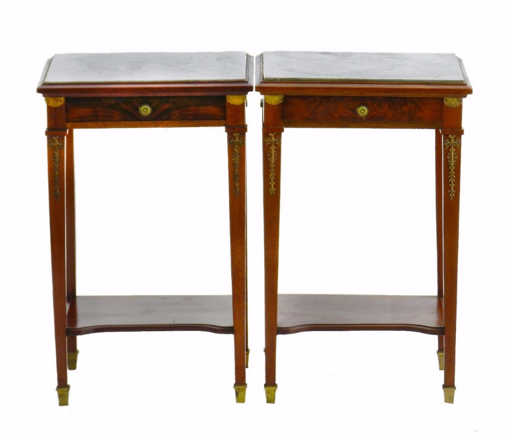 Pair of bedside tables french empire revival nightstands for French nightstand bedside table