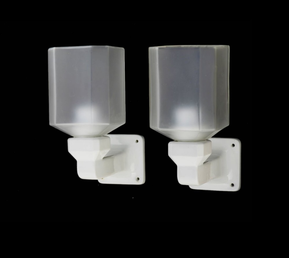French Ceramic Wall Lights : Pair Art Deco Wall Lights French Ceramic Sconces Original Glass 459447 Sellingantiques.co.uk