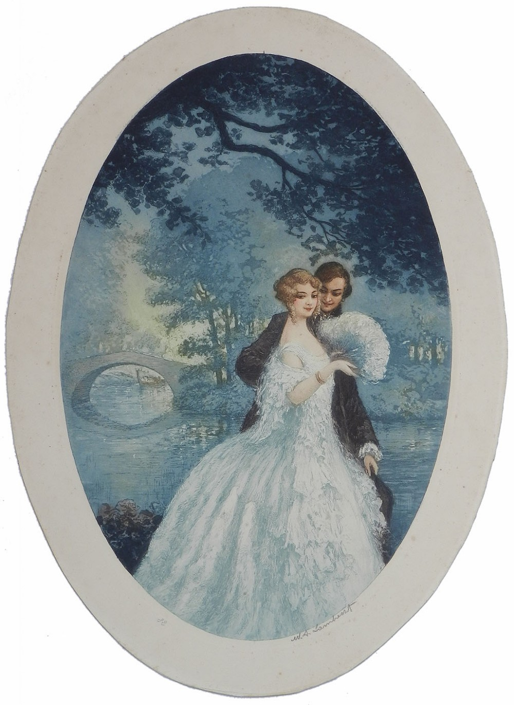 art deco signed print french with frame