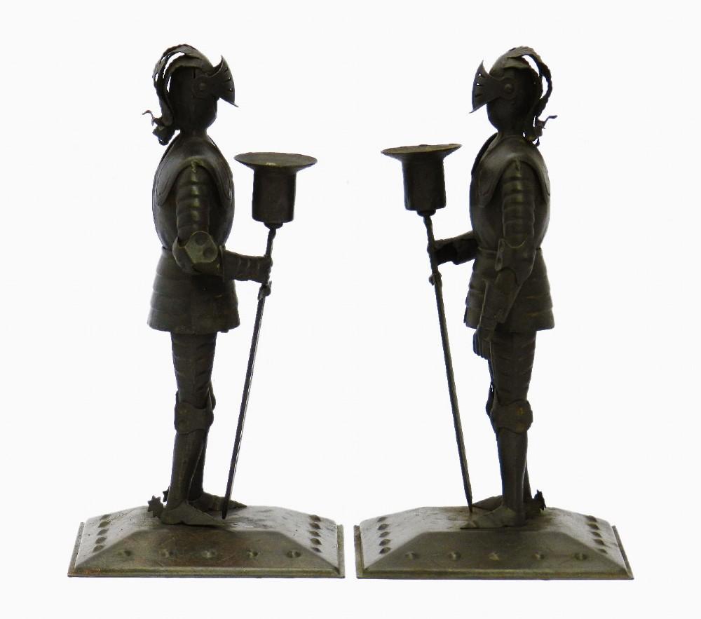 2 arts crafts knight candlesticks by goberg