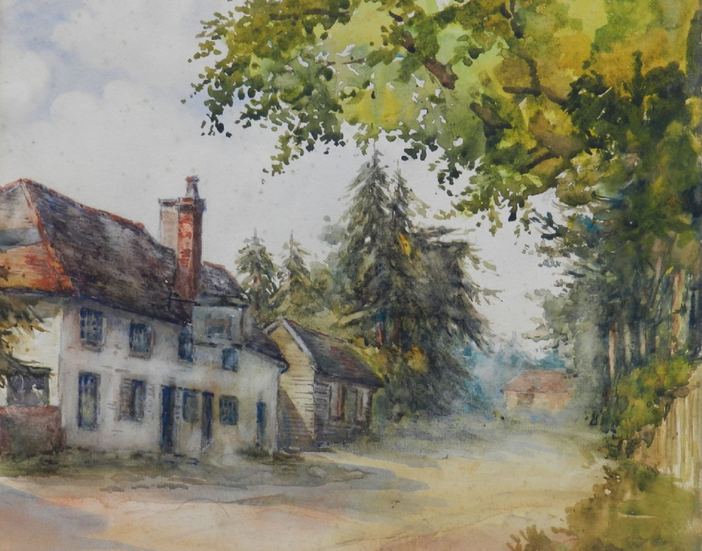 19th century watercolor english country house pub signed initials meb c1890
