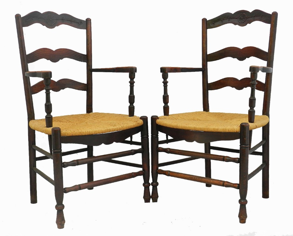 pair ladder back armchairs french