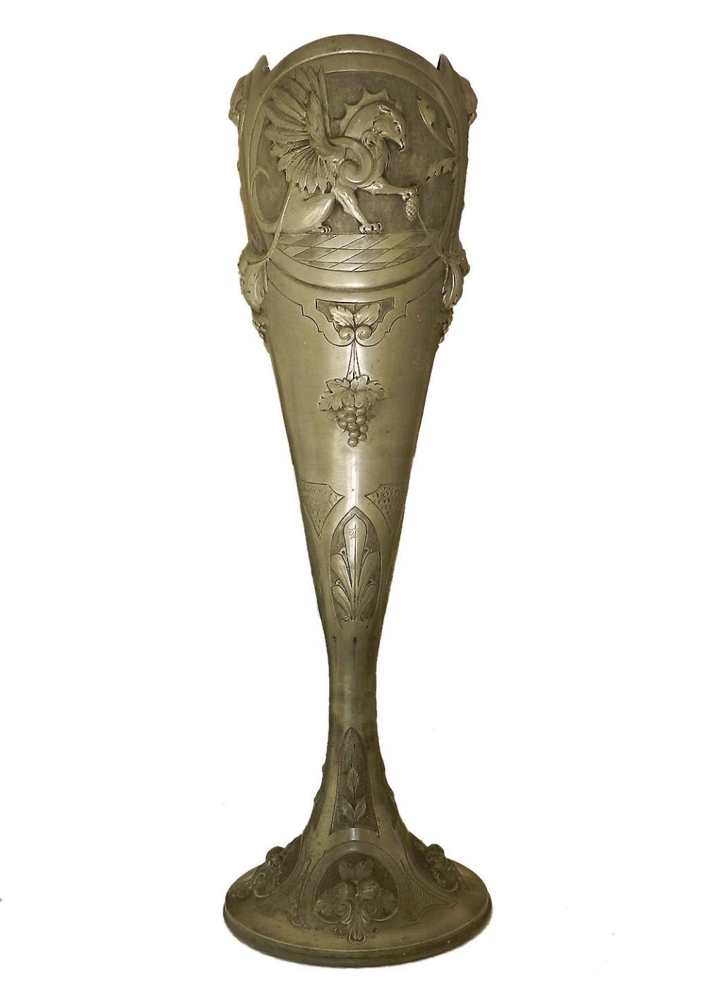 art nouveau vase pewter signed a villien monumental belle epoque c1900