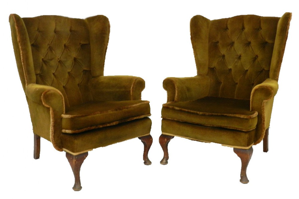 Pair Wingback Armchairs Includes Recovering | 616807 ...